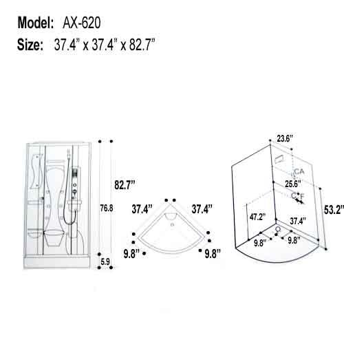 ax-620 steam shower