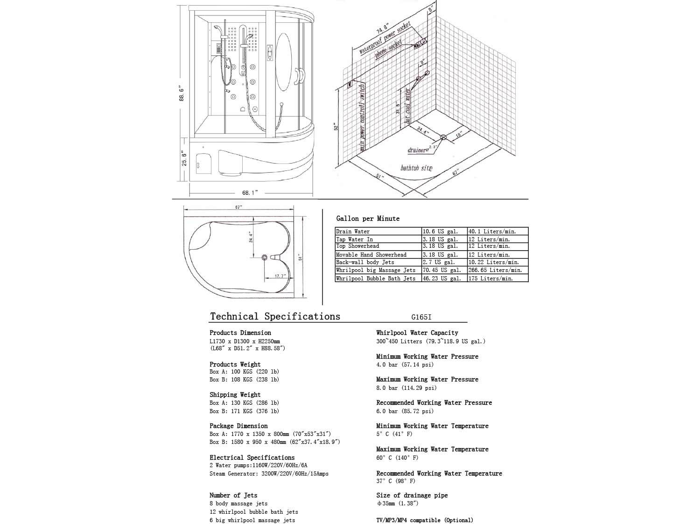 G165 Steam Shower B/L Schematic